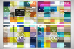 Vector set of tri-fold brochure design template on both sides with world globe element. Abstract colorful business. Background, modern stylish vector texture Royalty Free Stock Image