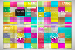 Vector set of tri-fold brochure design template on both sides with world globe element. Abstract colorful business Stock Images