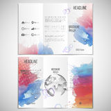 Vector set of tri-fold brochure design template on. Both sides with world globe element. Abstract hand drawn spotted colorful  background, composition for your Royalty Free Stock Photo