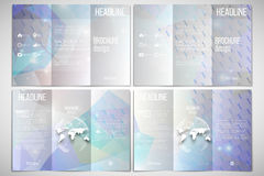 Vector set of tri-fold brochure design template on. Both sides with world globe element. Abstract multicolored background, digital style vector illustration Stock Image