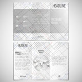 Vector set of tri-fold brochure design template on. Both sides with world globe element. Connected lines and dots on white background. Modern stylish geometric stock illustration