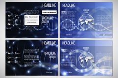 Vector set of tri-fold brochure design template on both sides with world globe element. DNA molecule structure, blue. Vector set of tri-fold brochure design Royalty Free Stock Photography