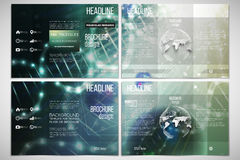 Vector set of tri-fold brochure design template on both sides with world globe element. DNA molecule structure, green. Vector set of tri-fold brochure design Stock Photos