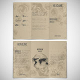 Vector set of tri-fold brochure design template on. Both sides with world globe element. Drawn grunge flowers over canvas texture, vector illustration Stock Photography