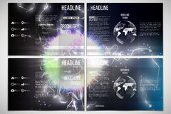 Vector set of tri-fold brochure design template  Royalty Free Stock Image