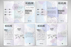 Vector set of tri-fold brochure design template. On both sides with world globe element. Hand drawn floral doodle pattern, abstract vector background Royalty Free Stock Photography