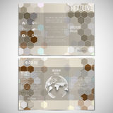 Vector set of tri-fold brochure design template on. Both sides with world globe element. Hexagonal modern stylish geometric brown background. Colored honeycombs Royalty Free Stock Photography