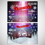 Vector set of tri-fold brochure design template on. Both sides with world globe element. Merry Christmas and happy New Year vector background Royalty Free Stock Photography