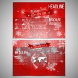Vector set of tri-fold brochure design template on. Both sides with world globe element. Merry Christmas and happy New Year vector background Stock Photography