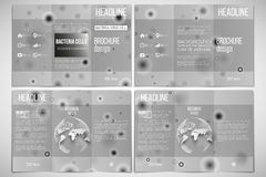 Vector set of tri-fold brochure design template on. Both sides with world globe element. Molecular research, illustration of cells in gray, science vector Royalty Free Stock Photos