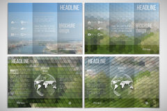 Vector set of tri-fold brochure design template on. Both sides with world globe element. Park landscape. Abstract multicolored backgrounds. Natural geometrical Stock Photography