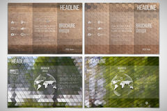 Vector set of tri-fold brochure design template. On both sides with world globe element. Park landscape. Abstract multicolored backgrounds. Natural geometrical Stock Photos