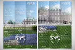 Vector set of tri-fold brochure design template on. Both sides with world globe element. Park landscape. Abstract multicolored backgrounds. Geometrical patterns Stock Photos