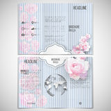 Vector set of tri-fold brochure design template on. Both sides with world globe element. Pink flowers over linear blue background, floral vector pattern Stock Photography
