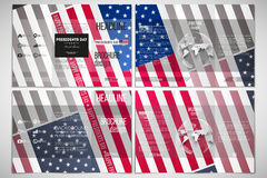 Vector set of tri-fold brochure design template on both sides with world globe element. Presidents day background. With american flag, abstract vector Royalty Free Stock Photography