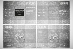 Vector set of tri-fold brochure design template on both sides with world globe element. Sacred geometry, triangle style Royalty Free Stock Images