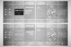 Vector set of tri-fold brochure design template on both sides with world globe element. Sacred geometry, triangle style Royalty Free Stock Photo