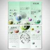 Vector set of tri-fold brochure design template on. Both sides with world globe element. Three dimensional glowing color spheres, green background. Abstract Royalty Free Stock Image