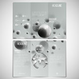 Vector set of tri-fold brochure design template on. Both sides with world globe element. Three dimensional glowing steel spheres, gray background Royalty Free Stock Photography