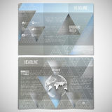 Vector set of tri-fold brochure design template on. Both sides with world globe element. Triangular pattern with the reflection of environment on blurred Royalty Free Stock Photo
