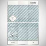Vector set of tri-fold brochure design template on. Both sides with world globe element. Vintage style lines blue background. Repeating modern stylish geometric Royalty Free Stock Photography