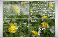 Vector set of tri-fold brochure design template on. Both sides. Yellow flowers on the grass. Abstract multicolored backgrounds. Natural geometrical patterns Royalty Free Stock Photo
