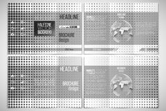 Vector set of tri-fold brochure design template. Halftone vector background. Black dots on white Royalty Free Stock Photography