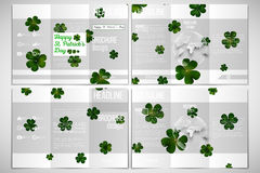 Vector set of tri-fold brochure design template. St Patricks day background, green clovers on white Royalty Free Stock Image