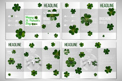 Vector set of tri-fold brochure design template. St Patricks day background, green clovers on white Stock Image