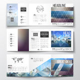 Vector set of tri-fold brochures, square design templates. Abstract colorful polygonal background with blurred image on Royalty Free Stock Images