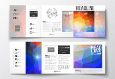 Vector set of tri-fold brochures, square design templates. Abstract colorful polygonal background, modern stylish Stock Image
