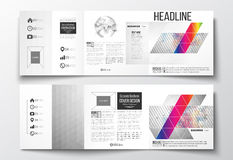 Vector set of tri-fold brochures, square design templates. Abstract colorful polygonal background, modern stylish Royalty Free Stock Images