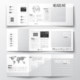 Vector set of tri-fold brochures, square design templates. Abstract colorful polygonal background, modern stylish Royalty Free Stock Photos