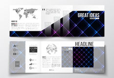 Vector set of tri-fold brochures, square design templates. Abstract polygonal background, modern stylish neon texture Royalty Free Stock Photo