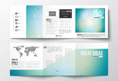 Vector set of tri-fold brochures, square design templates.  Royalty Free Stock Photo