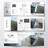 Vector set of tri-fold brochures, square design templates. Polygonal background, blurred image, urban landscape, modern Stock Images