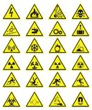 Vector Set of Triangle Yellow Warning Icons royalty free illustration