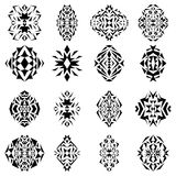 Vector set of tribal black and white decorative geometric patterns for design and fashion. Aztec ornamental style Stock Photo