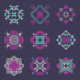 Vector set of tribal colored decorative patterns for design. Aztec ornamental style Royalty Free Stock Photography