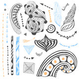 Vector set with tribal doodles. Hand drawn collection in zentangle style. For coloring page or tattoo art Royalty Free Stock Photos