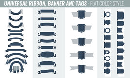 Vector set of tricolor, flat, long and short ribbon banners Royalty Free Stock Photos