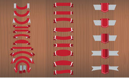 Vector set of tricolor, flat, long and short ribbon banners Stock Image