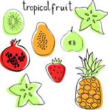Vector set of tropac fruit - pineapple, pomegranate, kiwi, pear, strawberry, papaya, carambola. stock illustration