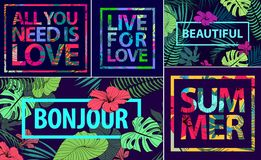 Vector set of tropical quotes, posters and banners. Modern prints in square frames. Holiday cards with palm leaves. And fowers stock illustration