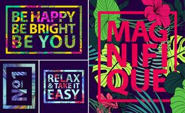 Vector set of tropical quotes, posters and banners. Modern prints in square frames. Holiday cards with palm leaves. And fowers royalty free illustration
