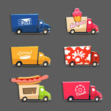 Vector set of trucks with inscriptions featuring ice cream truck Royalty Free Stock Photo