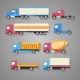 Vector set of trucks with a shadow. Color flat icons. Dump truck Royalty Free Stock Photos