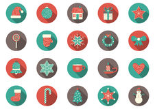Vector set of twenty colorful christmas icons Royalty Free Stock Photos