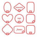 Vector set of twisted frame of the cord and the rope for Valentine`s day. Vector set of twisted frame of the cord and the rope round, oval, rectangular, square vector illustration