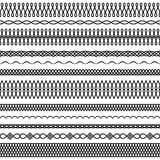 Vector set of twisted and wavy brushes 2. Vector set of wide and narrow brushes in a linear style with a round interlacing and drop elements to create frames Royalty Free Stock Photography